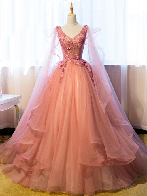Ball Gown V-Neck Appliques Beading Floor-Length Quinceanera Dress
