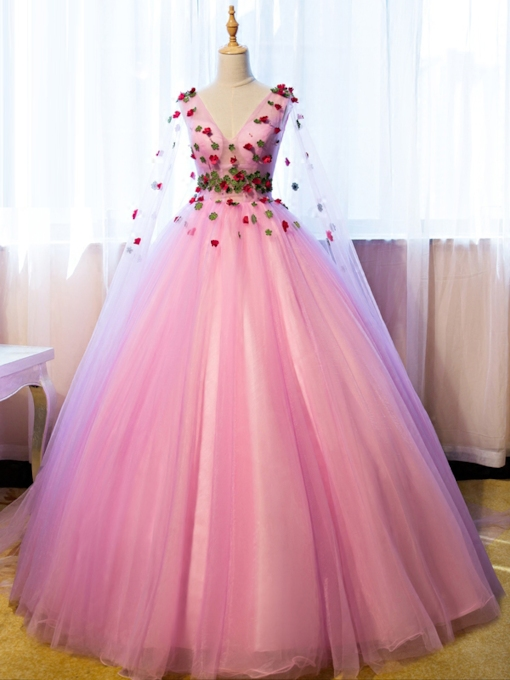 V-Neck Ball Gown Flowers Floor-Length Long Sleeves Quinceanera Dress