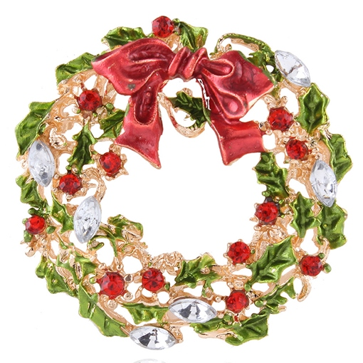 Colorful Christmas Tree Wreath Brooch