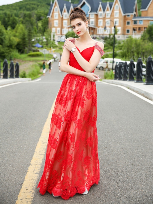 Lace A-Line Pleats Sweetheart Beading Floor-Length Evening Dress