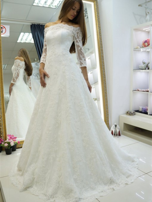 3/4 Length Sleeves Off-The-Shoulder Appliques Wedding Dress