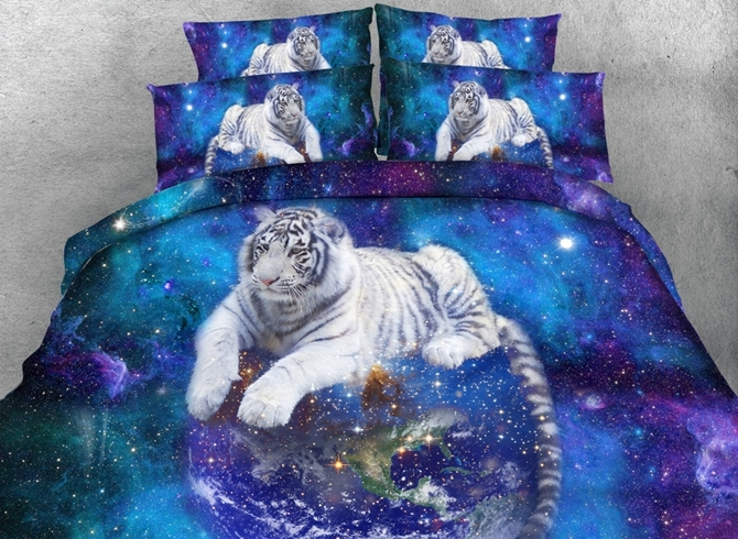 White Tiger and Galaxy Printed 4-Piece 3D Bedding Sets Duvet Covers