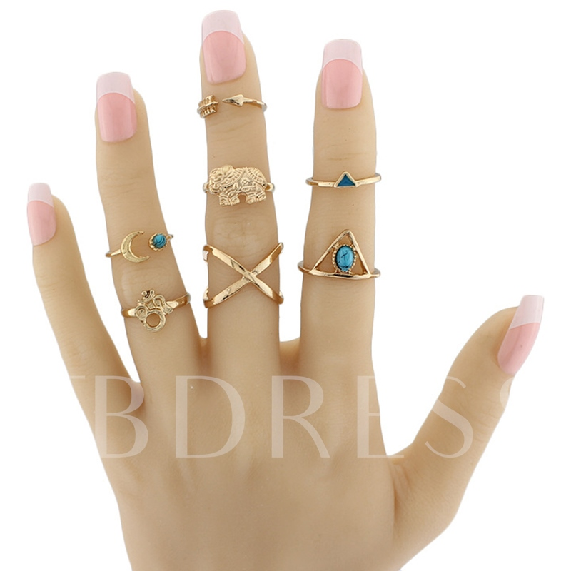 Turquoise Inlaid Seven Pieces Ring Set