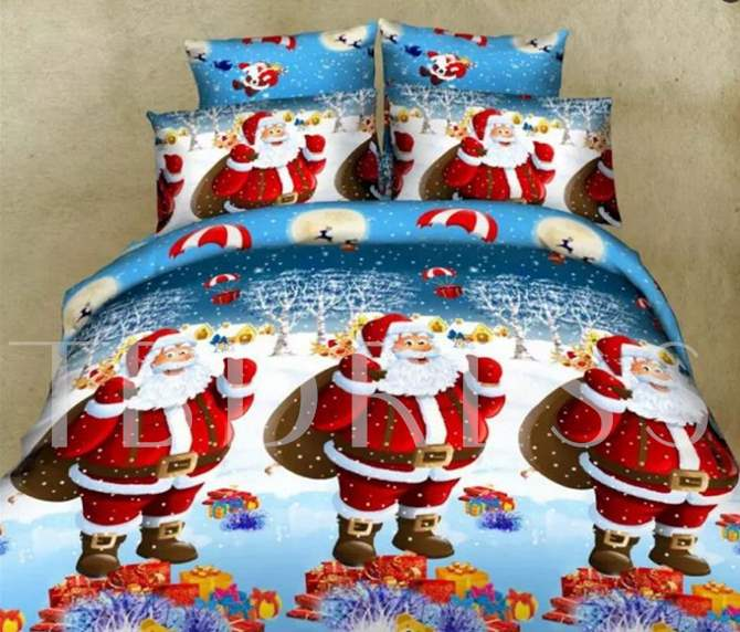 Lovely Christmas 3D Santa Disperse Printing 4-Piece Polyester Duvet Cover Sets
