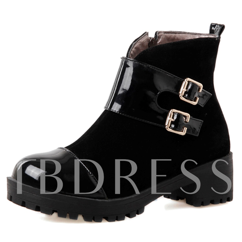 Side Zipper Ankle Patchwork Buckle Women's Boots
