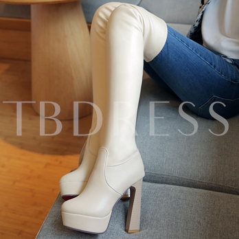 Pointed Toe Slip-On Over-the-Knee Plain Women's Boots