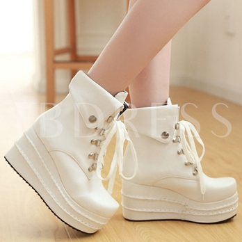 Round Toe Ankle Platform Short Floss Women's Boots