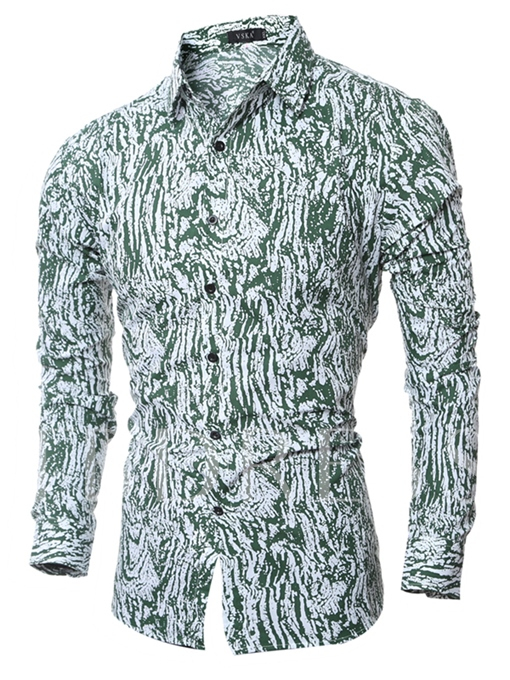 Men's Single Breasted Shirt with Floral Printed
