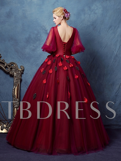 V-Neck Ball Gown Half Sleeves Pleats Floor-Length Quinceanera Dress