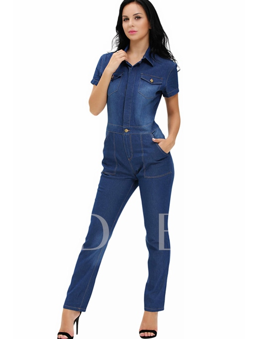 Solid Color Casual Short Sleeve Denim Jumpsuits
