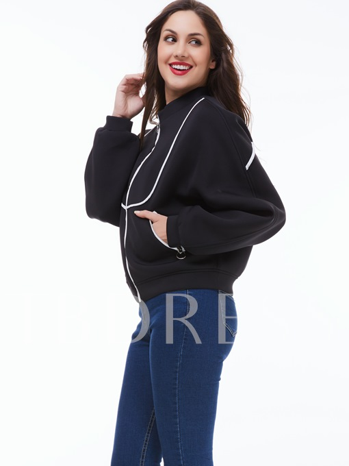Zipper Double Pocket Loose Women's Jacket