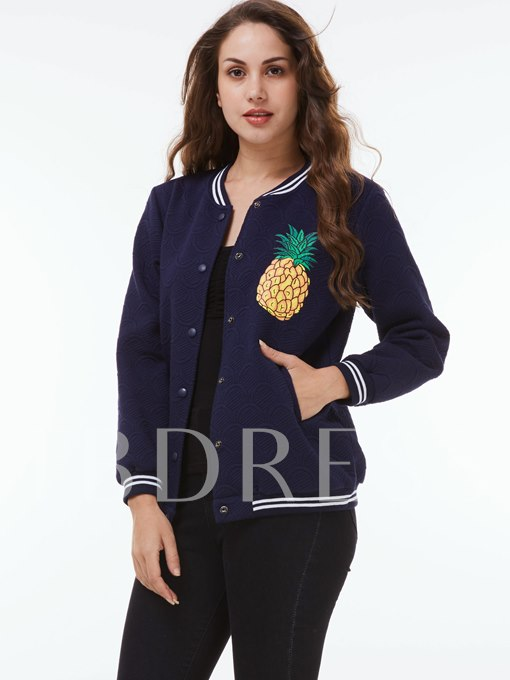 Pineapple Print Single-Breasted Women's Jacket