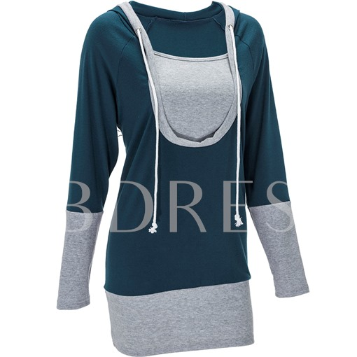 Color Block Patchwork Oblique Collar Long Sleeve Women's Hoodie