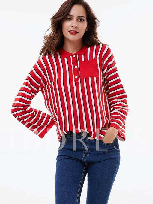 Color Block Stripe Polo Neck Long Sleeve Women's Sweater