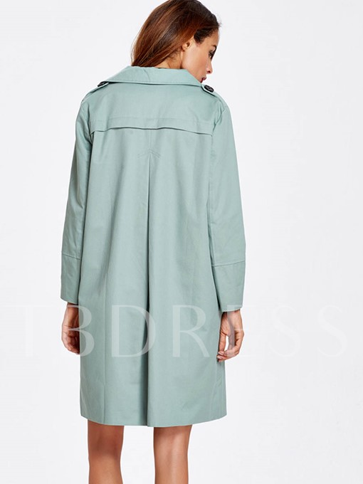Loose Notched Lapel Long Sleeve Women's Trench Coat