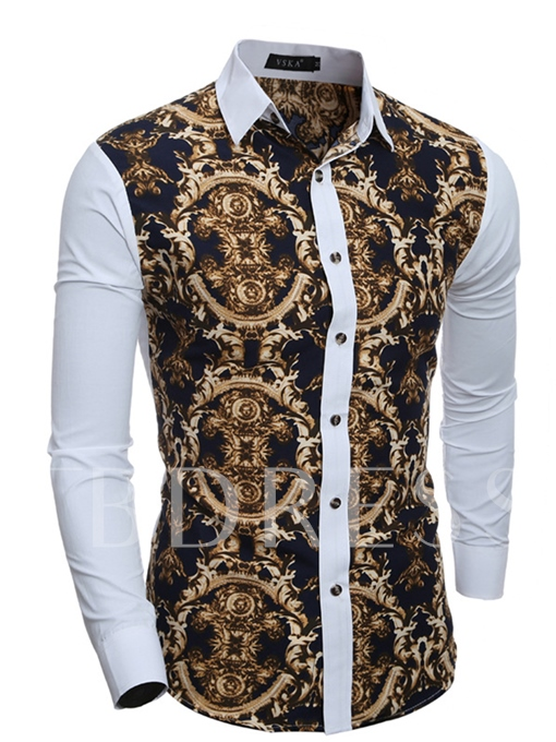 Lapel Patchwork Slim Fit Men's Button Shirt with Floral Printed