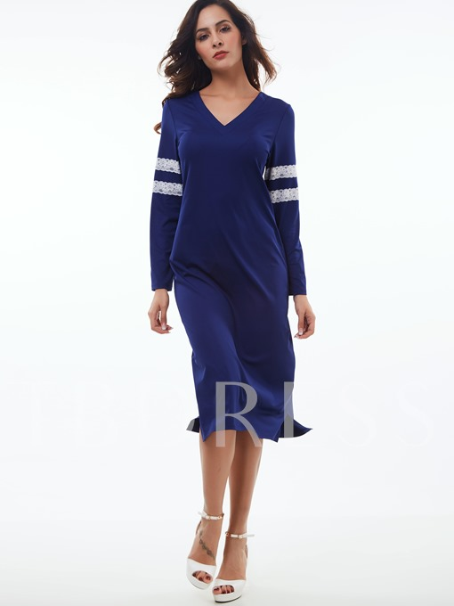 Color Block V-Neck Straight Women's Sheath Dress (Plus Size Available)