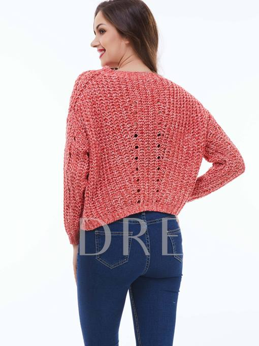 Hollow See-Through Contrasted Women's Sweater