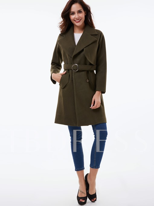 Double-Breasted Belt Plain Women's Overcoat