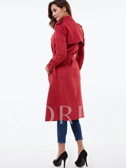 Long Trim Solid Color Notched Lapel Long Sleeve Women's Overcoat