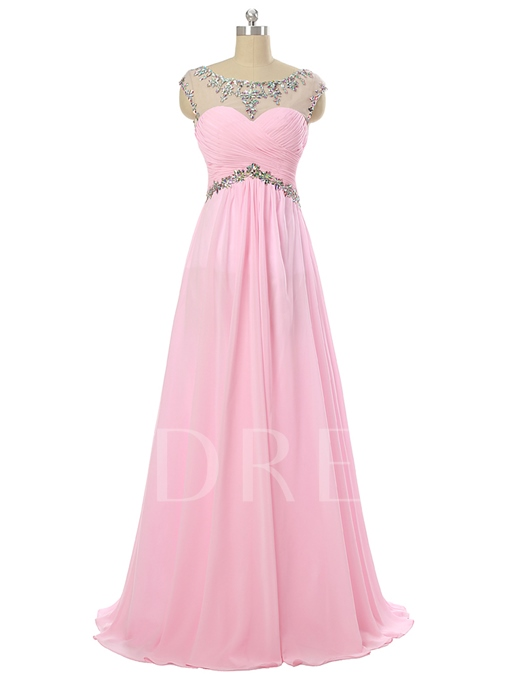 A-Line Scoop Cap Sleeves Rhinestone Pleats Long Prom Dress
