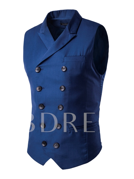 Solid Color Plain Men's Vest with Double-Breasted