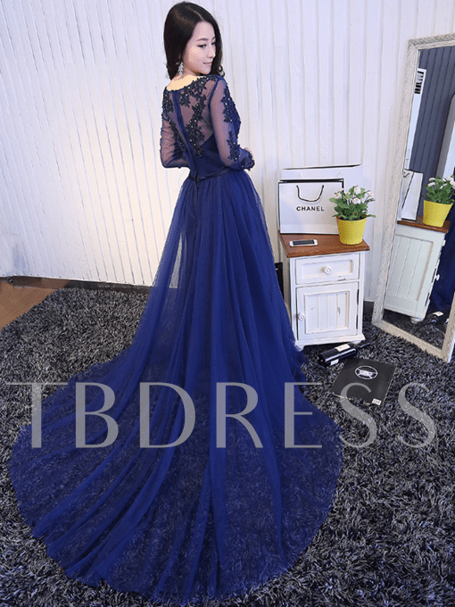 A-Line V-Neck Long Sleeves Appliques Beading Bowknot Sashes Long Evening Dress