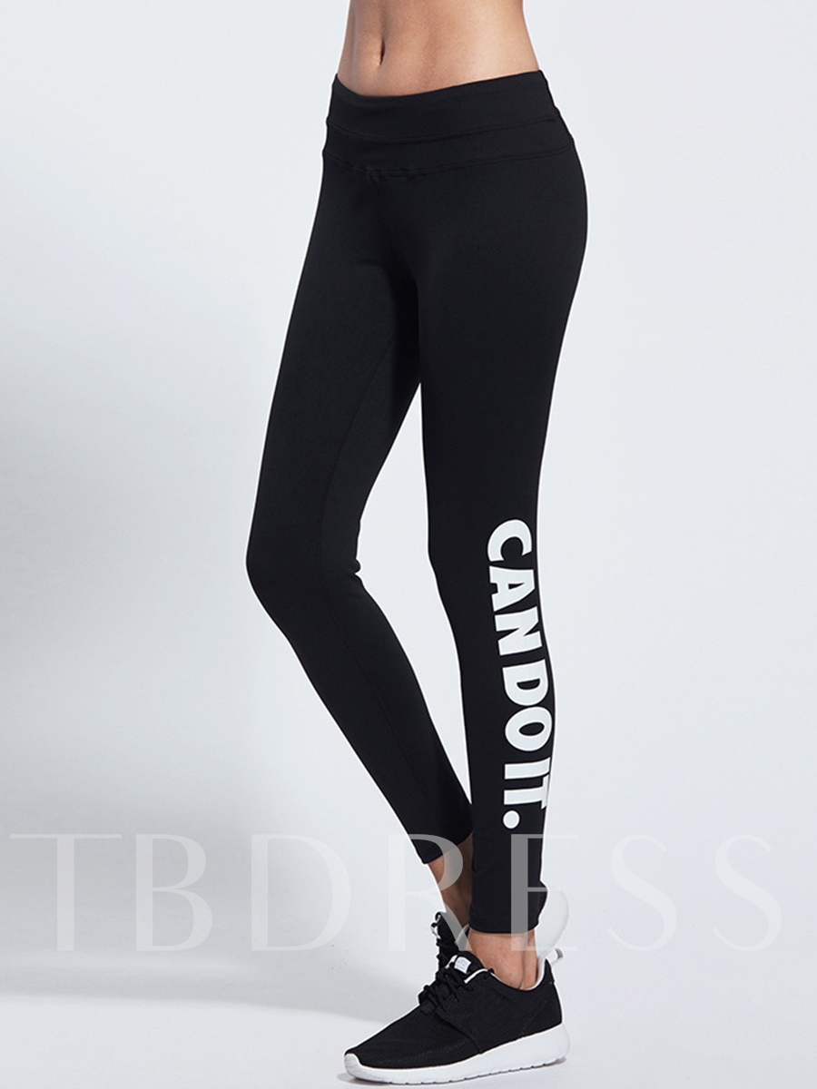 Word Printed Fast Drying Springy Women's Running Pants