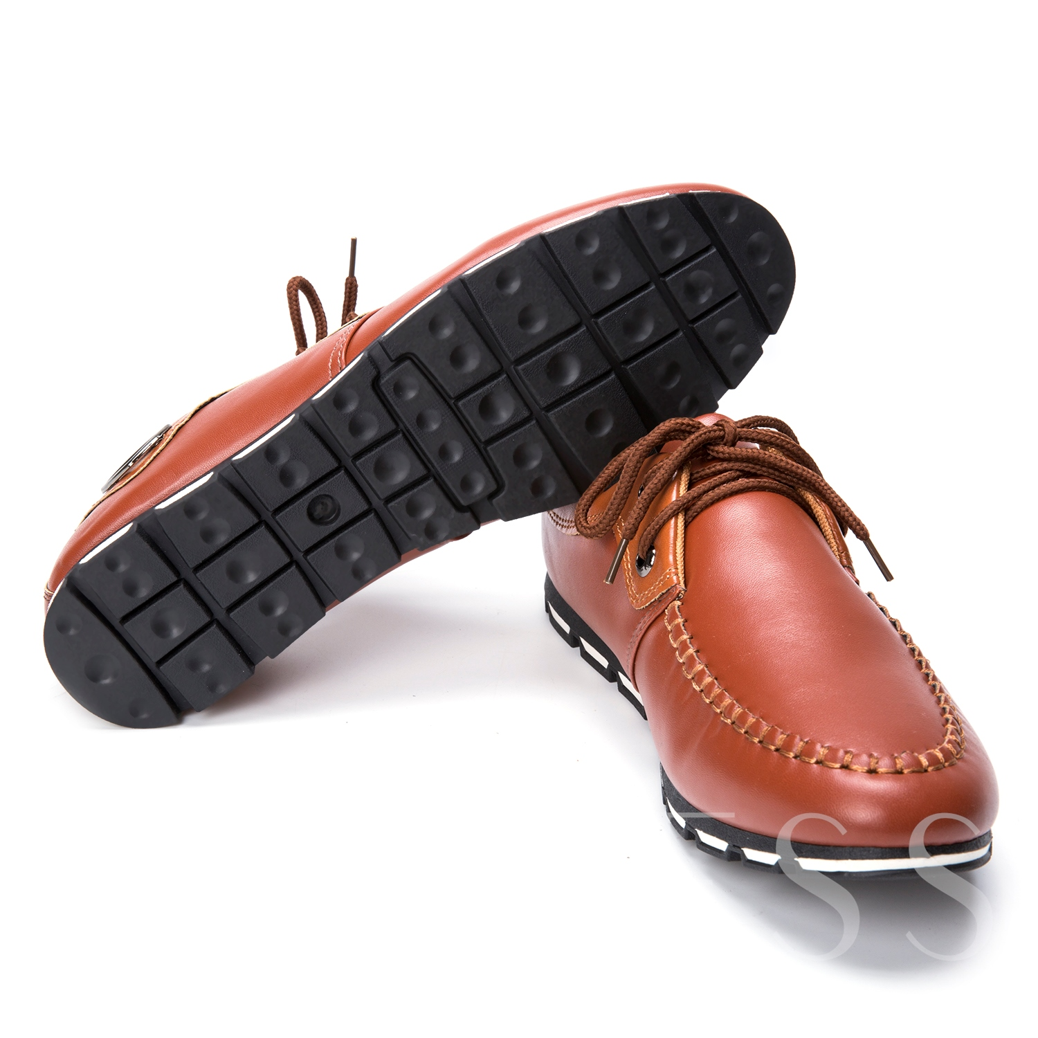 Flat Heel Round Toe Cross Strap Men's Loafers Boat Shoes