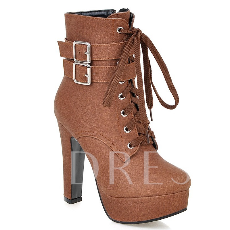 Round Toe Side Zipper Ankle Buckle Plain Platform Women's Boots