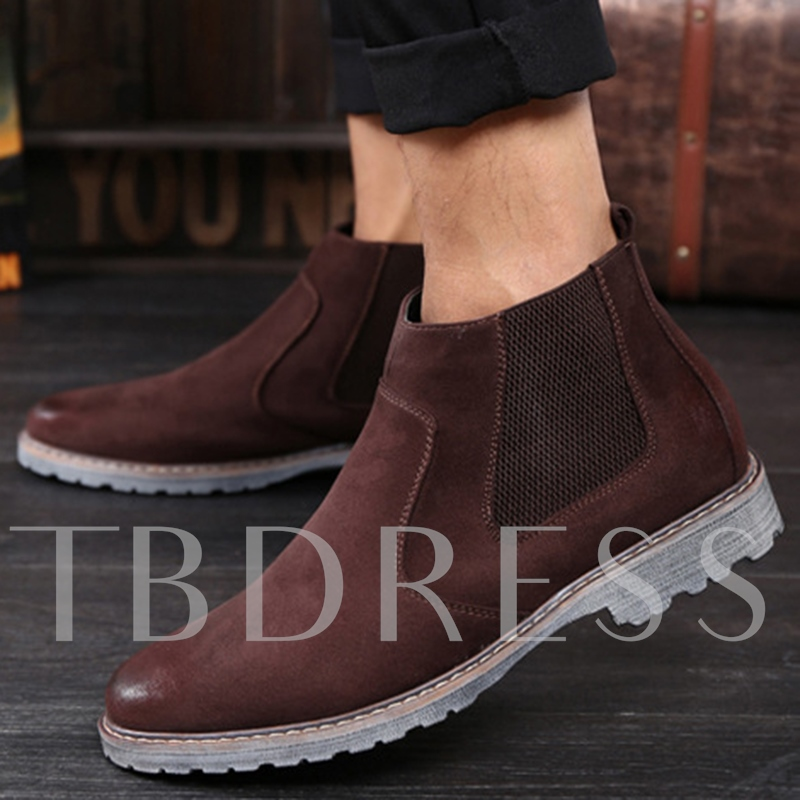 Round Toe Square Low Heel Slip-On Men's Boots