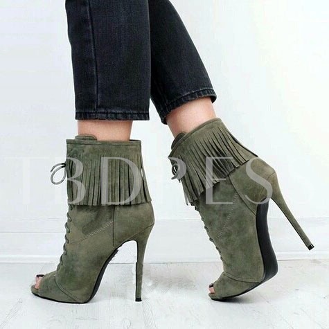 Peep Toe Lace-Up Front Tassel Ankle Plain Women's Boots