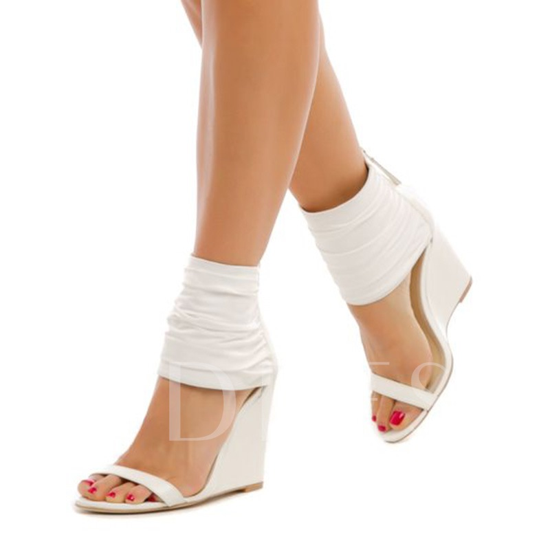 White Back Zipper Women's Wedge Heel Sandals
