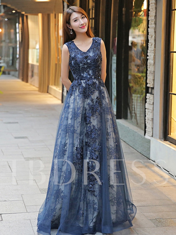 Sequins A-Line Beaded V-Neck Lace Floor-Length Evening Dress