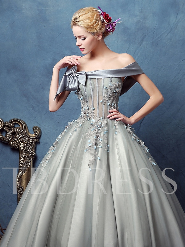 Bowknot Off-the-Shoulder Appliques Ball Gown Floor-Length Quinceanera Dress
