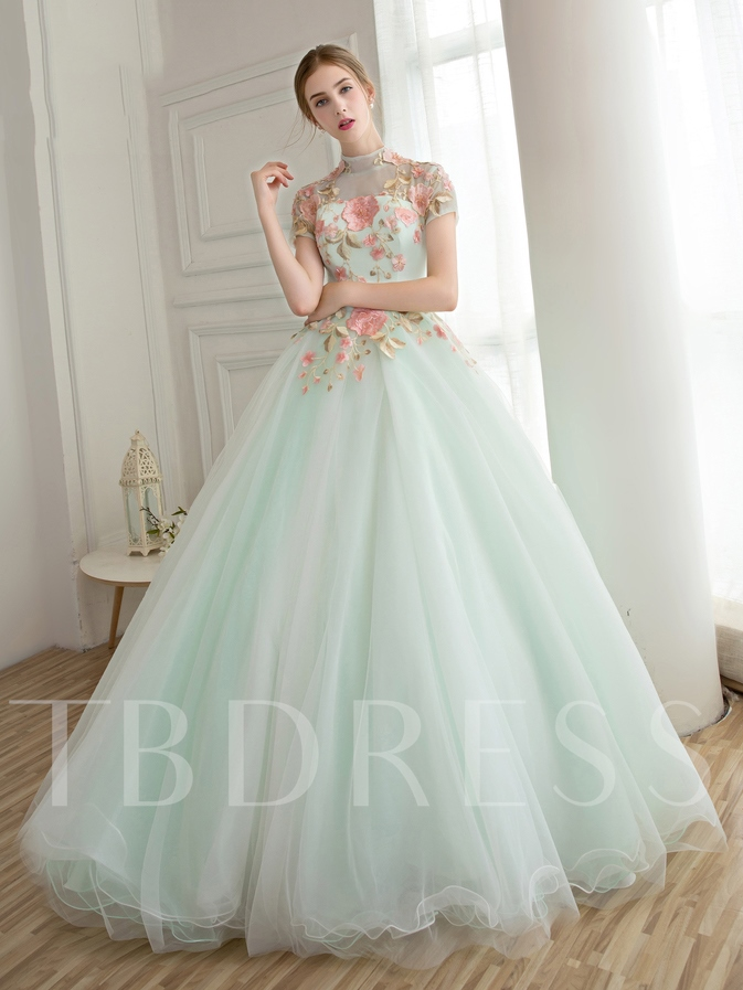 High Neck Appliques Flowers Long Quinceanera Dress