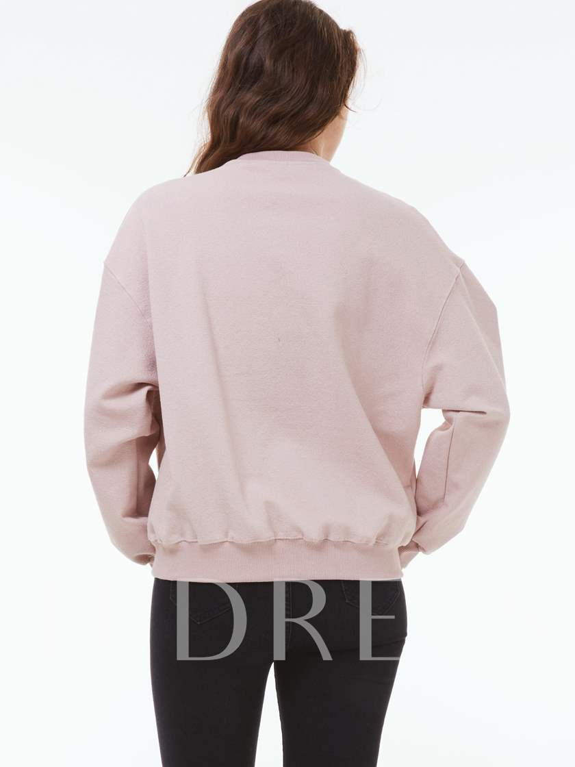 Embroidery Letter Round Neck Long Sleeve Women's Hoodie