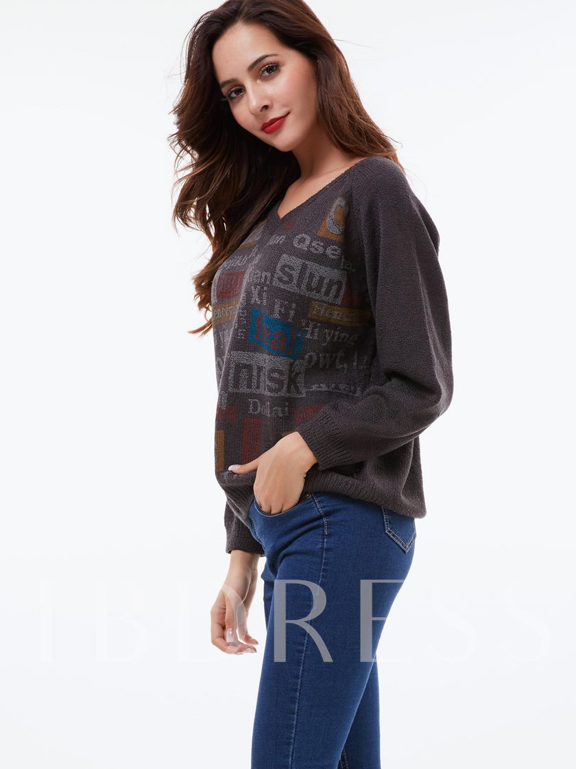 Various Letters Pattern Loose Women's Sweater