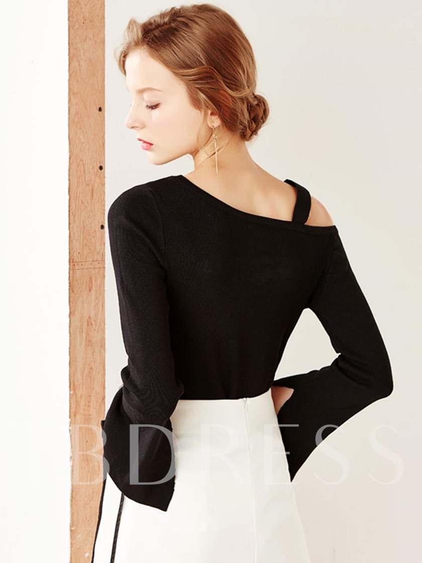 Solid Color Oblique Collar Bell Sleeve Women's Sweater