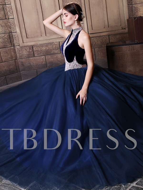 Halter Ball Gown Beading Pearls Floor-Length Quinceanera Dress
