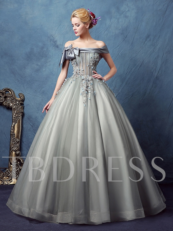 Off-the-Shoulder Appliques Bowknot Ball Gown Quinceanera Dress