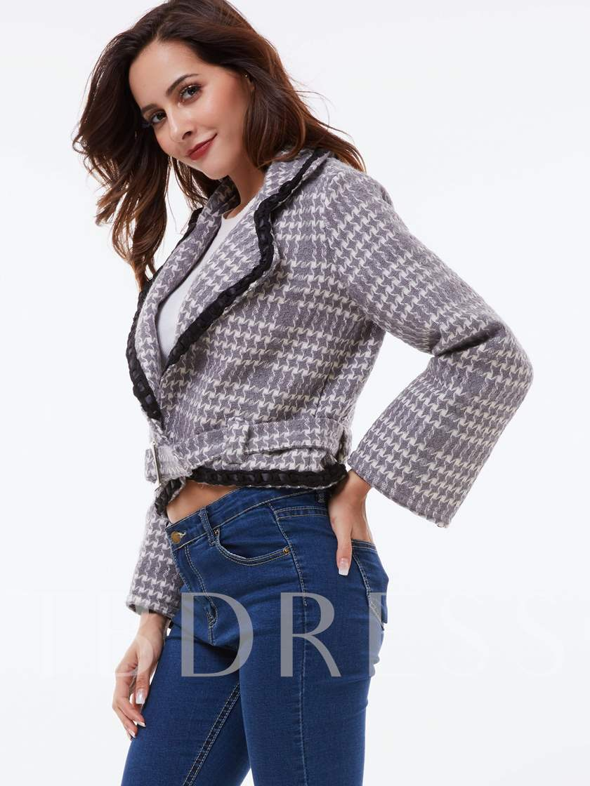 Plaid Lapel Crop Top Belt Women's Blazer Coat