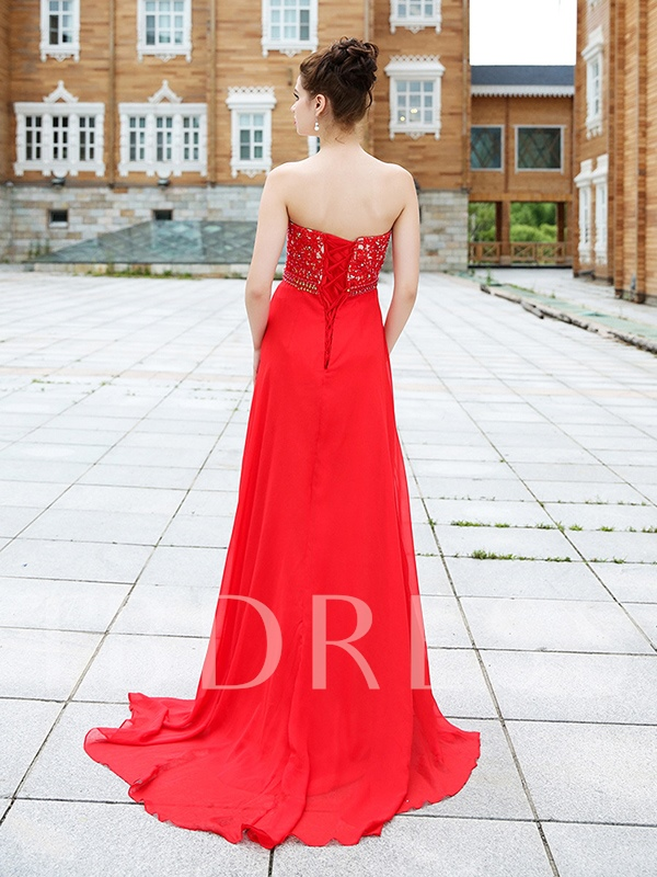 Crystal A-Line Sweetheart Beading Lace-Up Court Train Evening Dress