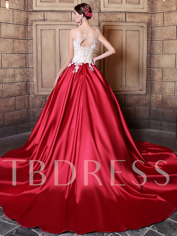 Sequins Scoop Ball Gown Appliques Court Train Quinceanera Dress