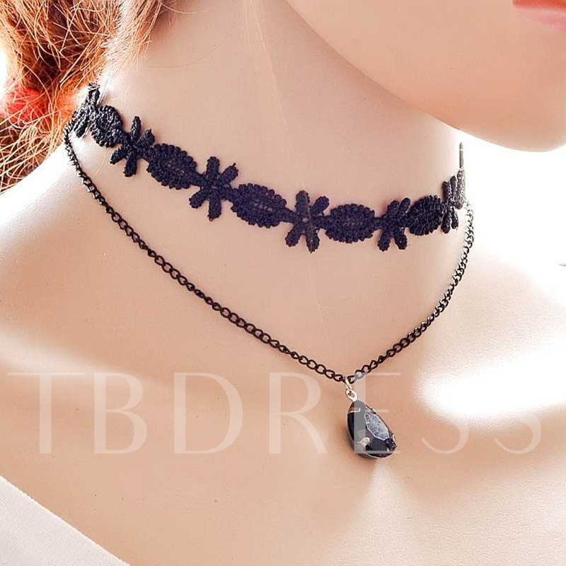 Double Layers Water Drop Pendant Necklace