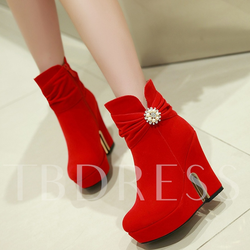 Side Zipper Round Toe Ankle Rhinestone Sequins Women's Boots