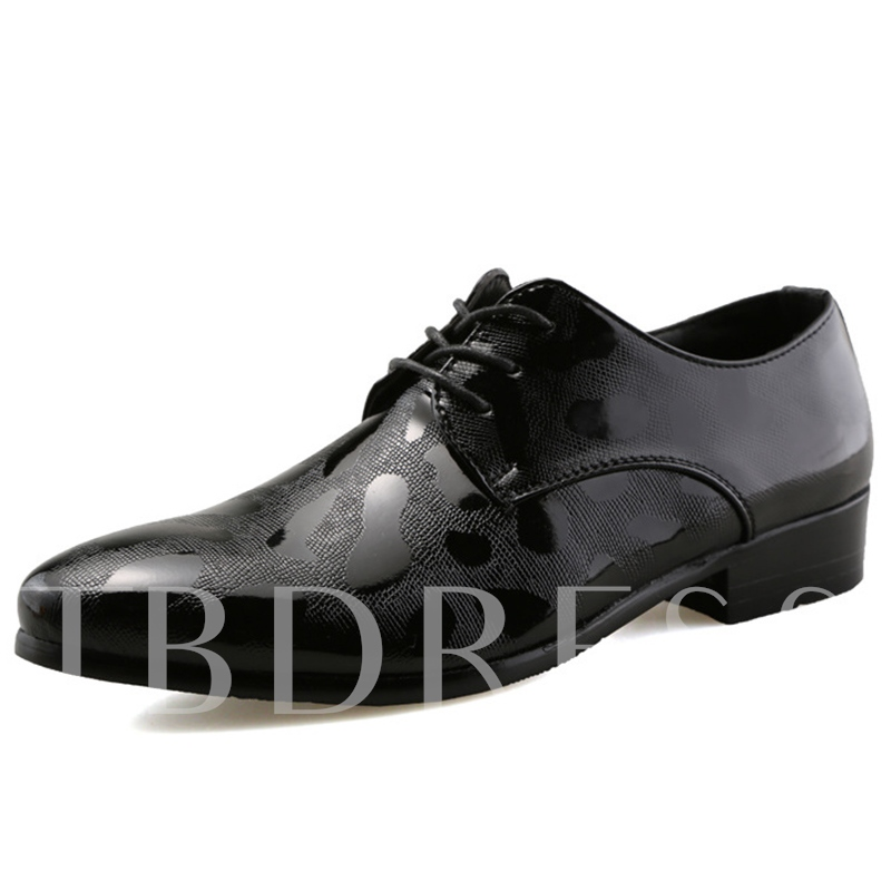 Square Low Heel Lace-Up Pointed Toe Low-Cut Men's Oxfords