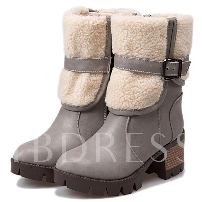 Slip-On Mid-Calf Buckle Plain Women's Boots