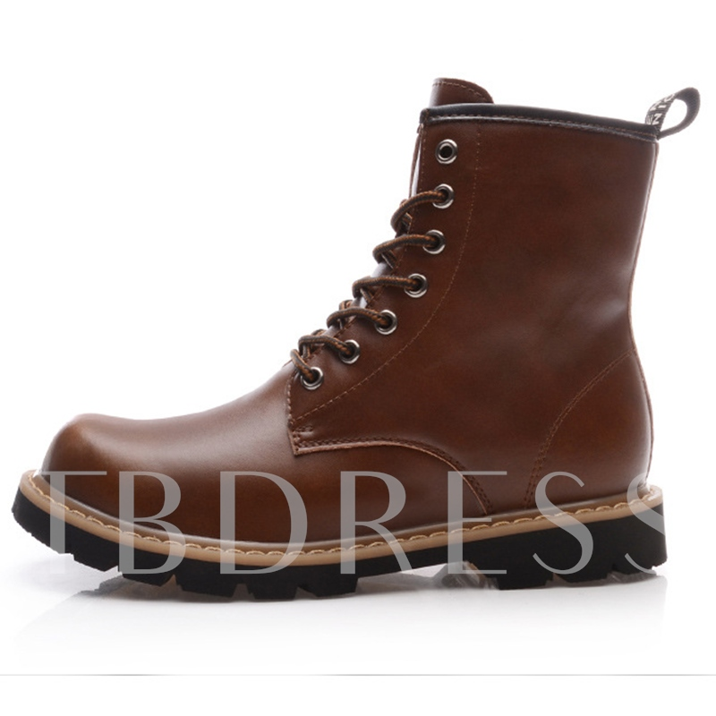 Round Toe Lace-Up Square Low Heel Ankle Men's Boots