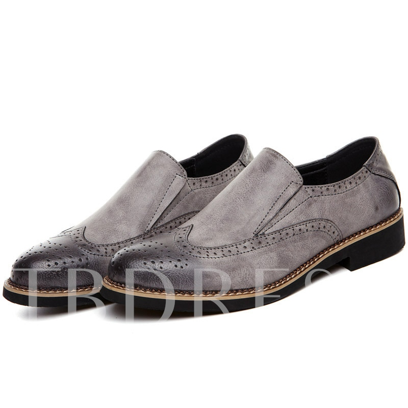 Pointed Toe Square Low Heel Low-Cut Upper Men's Oxfords